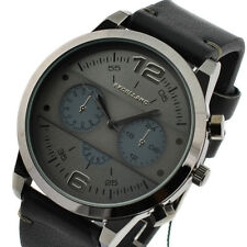 Reloj de pulsera automático XL reloj imitación cuero negro gris watch for man nuevo colgante
