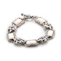 Bracelet Nacre Bijoux Gourmette Chaine Cadeaux Femme Luxe RECTANGLE BLANC