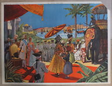 AFFICHE SCOLAIRE ANCIENNE ROSSIGNOL TABLEAU HISTOIRE 45/46 INDE TRANSPORTS