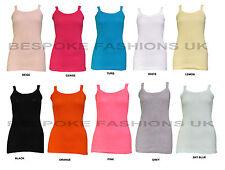 Womens Plain Bright Stretchy Ladies Ribbed Vest Top T Shirt Rib Strap Sizes 8-14 UK 12-14 Salmon