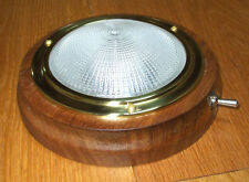 LED Dome light, Brass on Teak 12v or 24v Boat Caravan Camper 140mm INL512LED