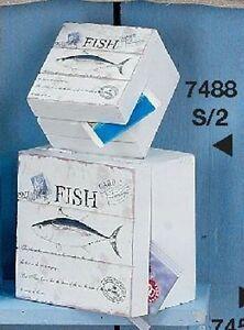 Hoff Interieur 7488 2er-Set Storage Box Fish Maritime Wood Key Box