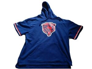 Men's Mitchell & Ness Navy Chicago Bears French Terry Short Sleeve Hoodie 3xlb