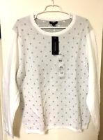 Tommy Hilfiger Women's Crew Neck Snow White Pullover Sweater Long Sleeve NEW