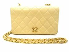 Auth CHANEL Mini Matelasse Beige Lambskin Shoulder Bag Gold Hardware