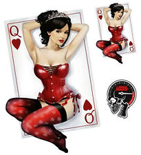 Adhesive Set Heart Queen Pin Up Girl Queen of Hearts Sticker Sexy Playing Card