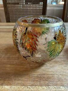 Crackle GLASS CANDLE HOLDER LEAVES ROUND SHAPE APX 4 1/2 IN WIDE 5 IN HIGH