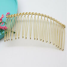 5Pcs Wholesale Metal Hair Clips Side Combs Pin Gold Barrettes Craft 75X37mm