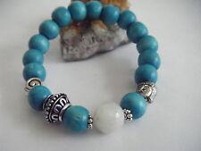Cosmic Spiral Tibetan Silver Beads Buddha Rainbow Moonstone Eco Wood Bracelet