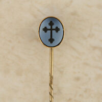 Gold Stick Pin - Vintage Gold Sardonyx Black Cross Stick Pin (boxed)