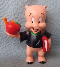 "VINTAGE PORKY PIG HOLDING APPLE 3"" PVC FIGURE, Looney Tunes, Cake Topper"