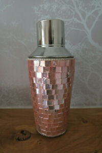 SPARKLY PINK GLITTER COCKTAIL SHAKER MOSAIC EFFECT GREAT CONDITION