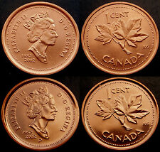 2002 (no P) + scarce 2002 (P) CANADA - 2 x 1¢ Pennies - both UNC