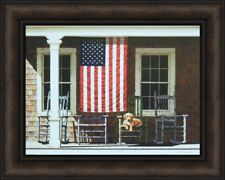 American Flag by Zhen-Huan Lu 16x20 Porch Rocking Chairs Puppy Dog Americana USA