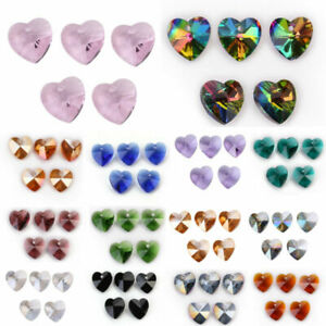 14mm 10pcs Charms Heart Faceted Crystal Glass Spacer Loose Beads Jewelry Pendant