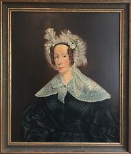 Old 20th C Oil Painting Portrait Of A Victorian Lady. Antique Style Frame