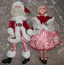 """katherine's Collection Mrs  Claus & """"santa"""" 18"""" Sit or Stand 2012 candy stripes"""