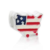 USA American Flag Map America Patriotic Enamel Charm for European Bead Bracelets