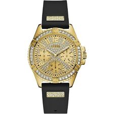 Guess Gold Tone Stainless Steel & Black Rubber Strap Women's Watch W1160L1