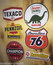 6er US Oldschool Cars Set Adesivo/adesivi Texaco 76 Pennzoil Rod Rockabilly