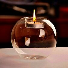 Home Candle Holder Decor Wedding Ornament Crystal Glass Round Candlestick Modern