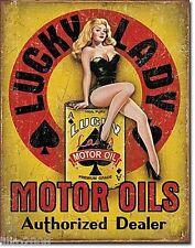 LUCKY LADY MOTOR OILS/PIN-UP GIRL , METAL  WALL SIGN 40X30cm GARAGE/DINER/DEN