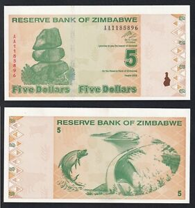 Zimbabwe 5 dollars 2009 FDS-/UNC-  C-09