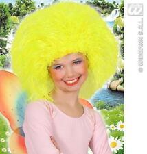 Kids Childrens Large Neon Yellow Wig Fairy Tale Clown Fancy Dress