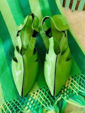 Vtg 60's Mod Green Leather Pointed Toe Slingbacks