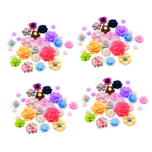 200x Colored Flatback Resin Flower Embellishments Cabochon FOR DIY Hair Bow Accs