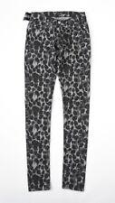 HOF115: Cheap Monday Slim trash leopard jeans spray printed grey black 26/34