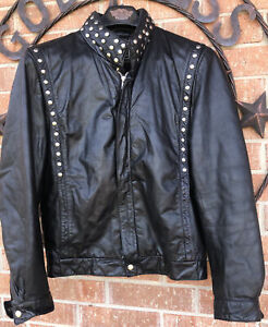 womens size 40 Metal studded genuine leather jacket preowned