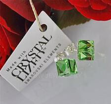 STUDS EARRINGS CRYSTALS FROM SWAROVSKI® CUBE PERIDOT 6mm STERLING SILVER 925