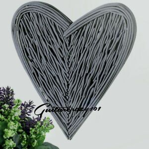 Large Grey WICKER HEART natural rustic twig effect wall hanging Gift 70cm tall