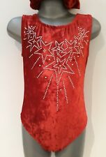 Girls age 5-6 Red velour/Rhinestone Stars sleeveless leotard Made in the UK