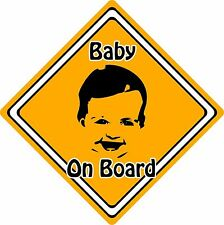 Baby/Child On Board Car Sign ~ Baby Face Silhouette ~ Neon Orange