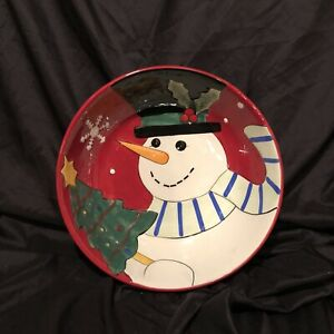 Fitz and Floyd Merry & Bright Snowman Serving Bowl