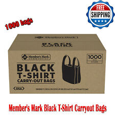 Member's Mark Black T-Shirt Carry Out Thank You Bags Recyclable 1,000 Ct Plastic