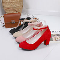 Women High Heels Pumps Thick Heels Stilettos Shoes Strap Buckle Comfort Fashion