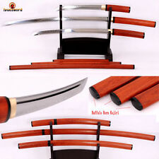JAPANESE SHIRASAYA T10 CLAY TEMPERED KATANA + WAKIZASHI + TANTO SWORD SET SHARP