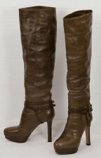 $1600 PRADA PLATFORM KNEE HIGH BROWN/TAUPE LEATHER BOOTS SIZE 37