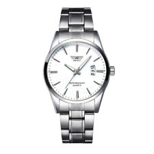 Mens Watches Stainless Steel Date Analog Quartz Army Silver Black Wrist Watch