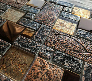 NEW NATURE DESIGN HIGH RELIEF 3D STONE METAL GLASS COPPER MOSAIC WALL TILES