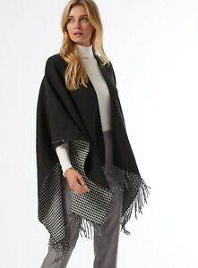 Dorothy Perkins Womens Black Houndstooth Cape Fashion Warm Winter Style S/M