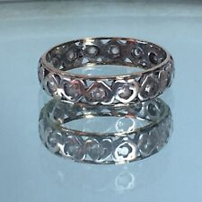 Antique Art Deco Size P eternity ring 9ct gold silver Diamond Paste Heart Design