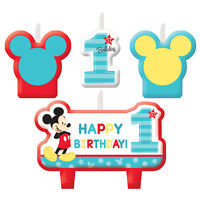 New Baby Mickey Mouse 1st Candles Set (4ct)  Birthday Party Favor Supplies