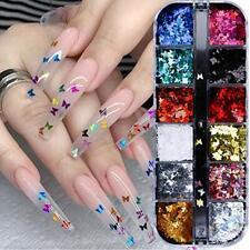 3D Butterfly Nail Glitter Sequins Laser Butterfly Nail Art Supplies 12 Colors...