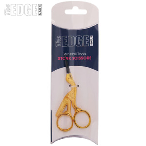 The Edge Nails Professional Gold Plated Stork Nail Scissors For Silk/Fibreglass