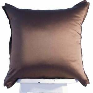 SALE Brown cotton satin throw pillow cover 18'' Luxury Sateen Piped Toss Cushion