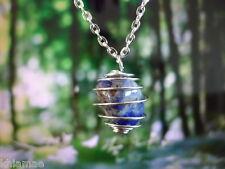 """Sodalite argent spirale collier 18"""" chaîne pendentif en pierre précieuse cristal wicca pagan"""